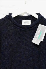 Roll neck jumper – Speckled navy – Rossan Knitwear - neck detailing