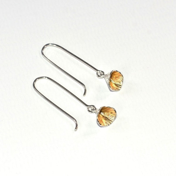 Shell Cone Long Drop Earrings - Sterling Silver & Gold - Martina Hamilton