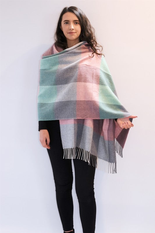 Spearmint and Smoke Lambswool Pashmina - McNutt of Donegal