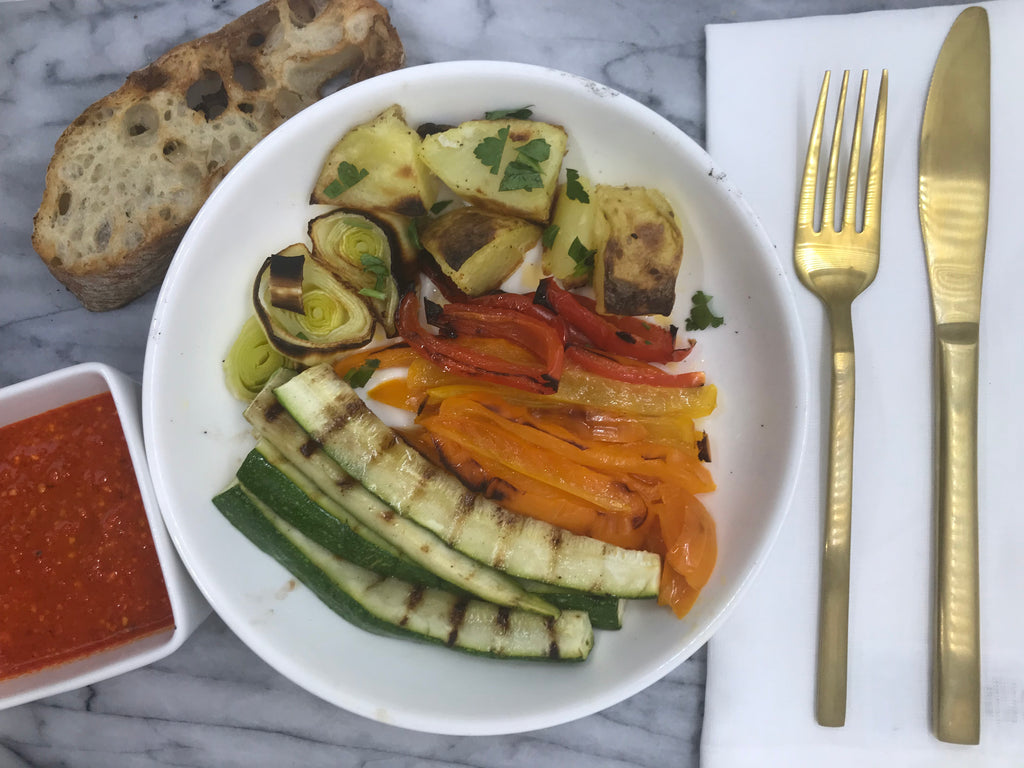 Grilled Vegetables and Crostini with Romesco Sauce