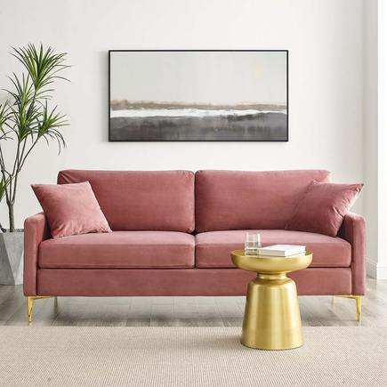 Chasity Velvet Sofa in Rose
