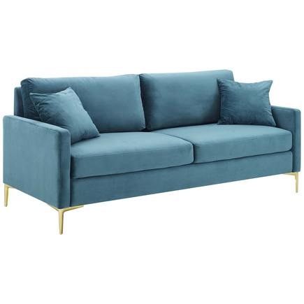 Chasity Velvet Sofa In Aqua