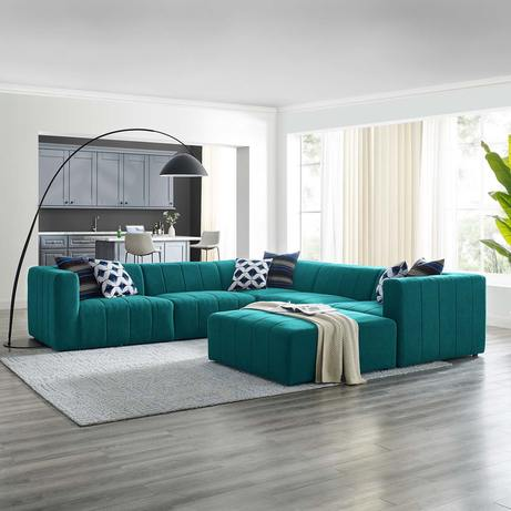 Upholstered Fabric 6-Piece Sectional Sofa