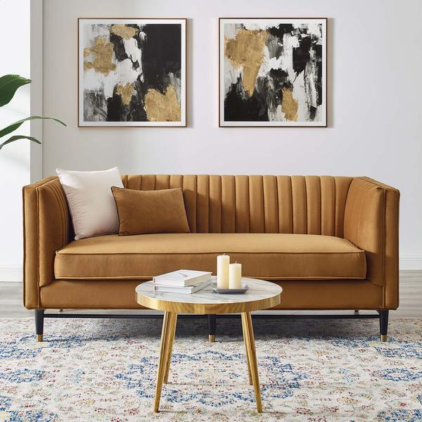 Cognac Tufted Loveseat