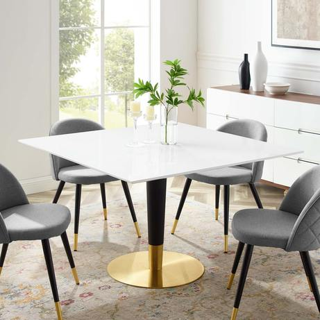 "47"" Square Dining Table in Gold White"