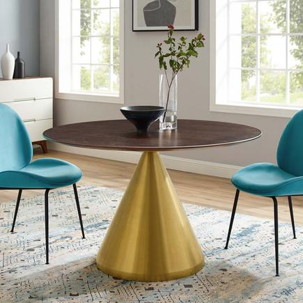 "Cherry and Gold 47"" Dining Table"