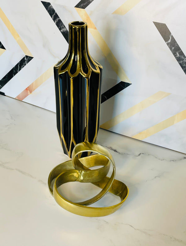 Luxe Black and Gold Vase