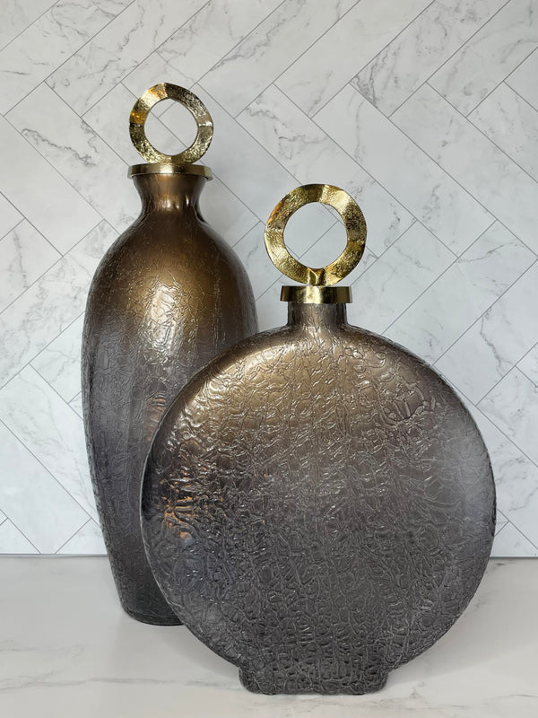 Tall Bronze and Gold Jar