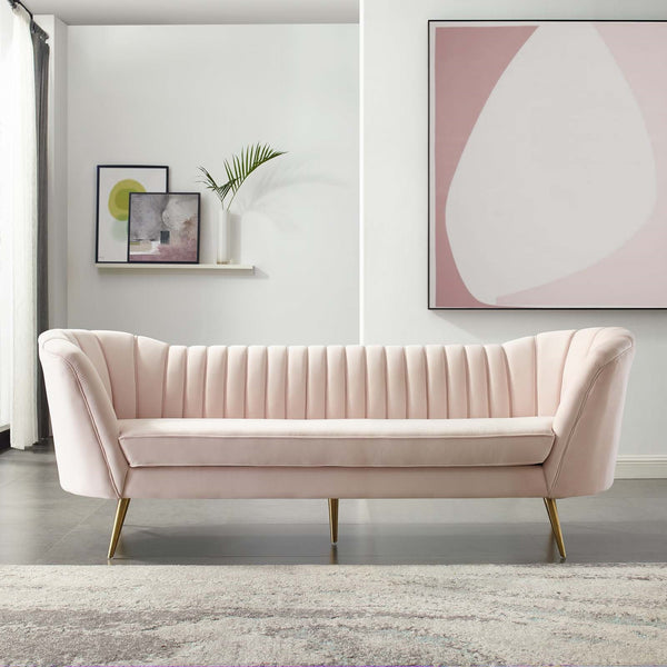 Tufted Curved Performance Velvet Sofa