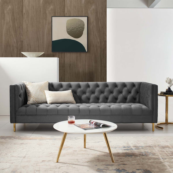 Tufted Button Performance Velvet Sofa