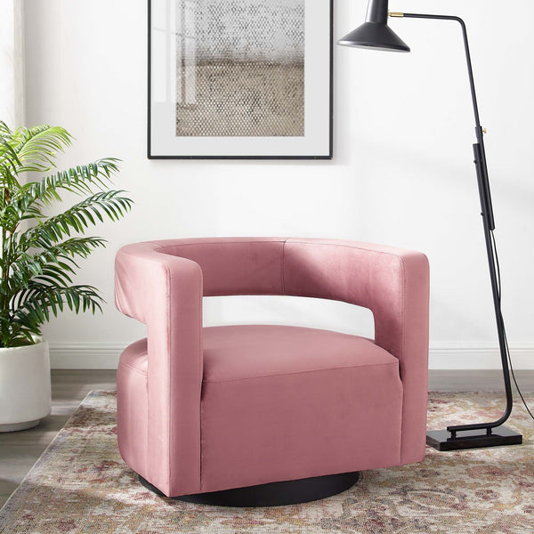 Cutout Velvet Swivel Armchair