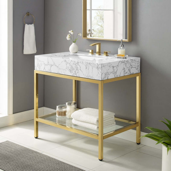 "36"" Gold Stainless Steel Bathroom Vanity"