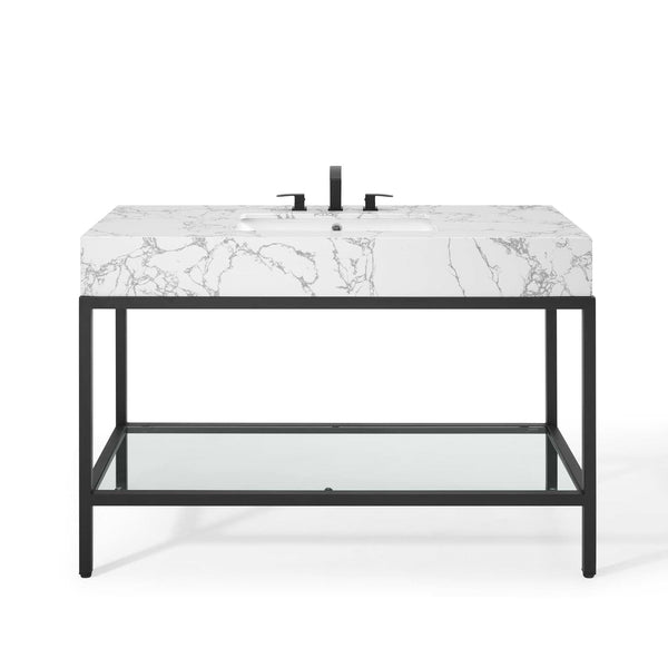 "50"" Black Stainless Steel Bathroom Vanity"
