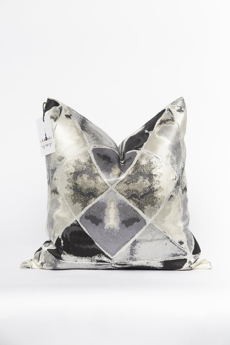Outer Space Onyx and Silver Metallic Pillow