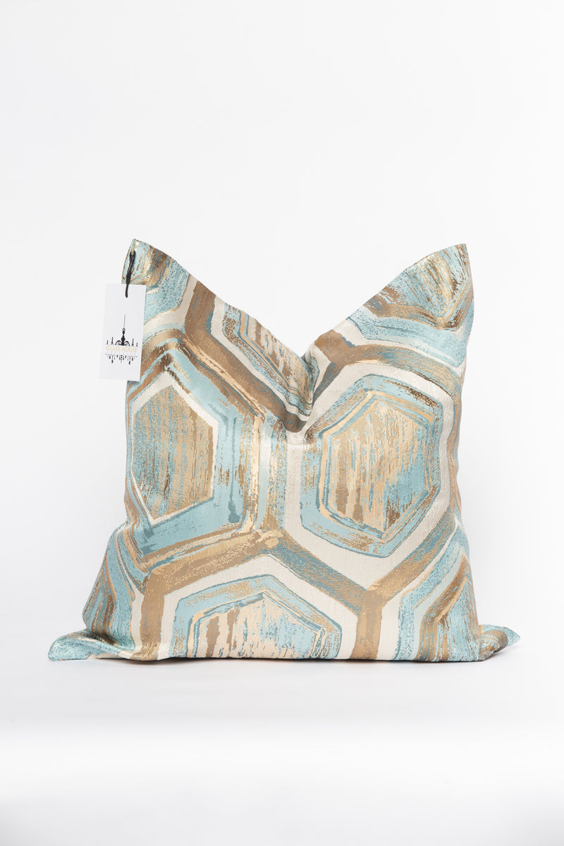 Earth Aqua and Gold Metallic Pillow