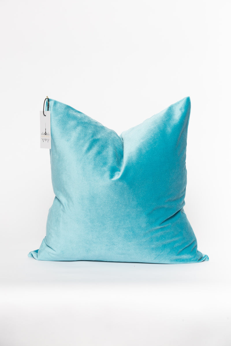 Light Blue Croc Velvet Pillow