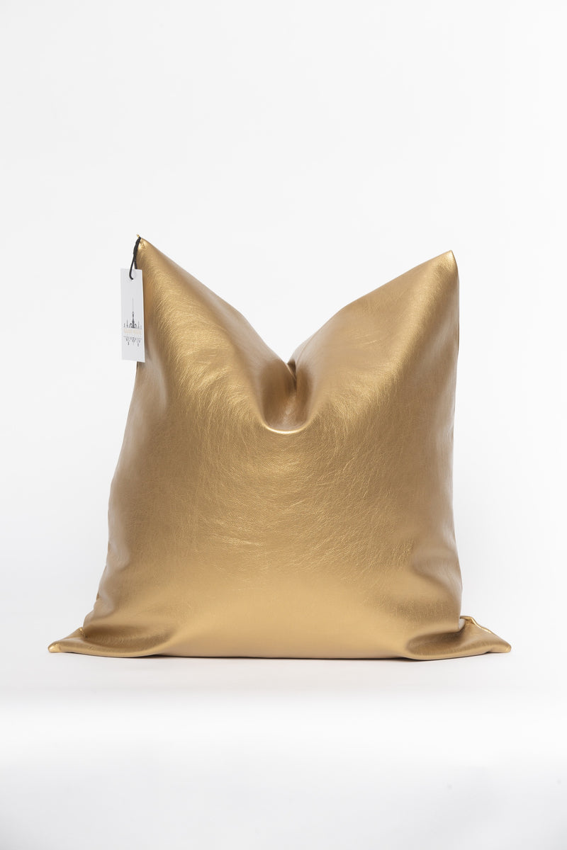 Faux Gold Leather Pillow