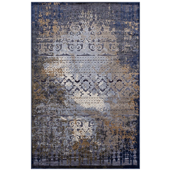 Distressed Vintage Turkish 5X8 Area Rug in Blue, Rust and Cream