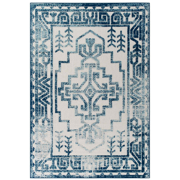 Distressed Geometric Southwestern Aztec Indoor/Outdoor Area Rug