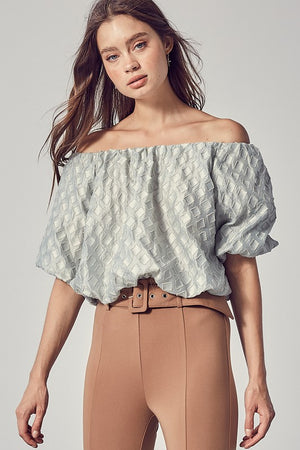 CLAUDIA OFF THE SHOULDER TOP IN SAGE