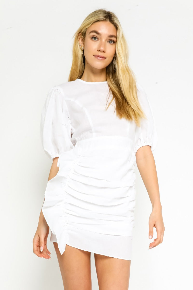 WEBSTER RUCHED MINI DRESS IN WHITE