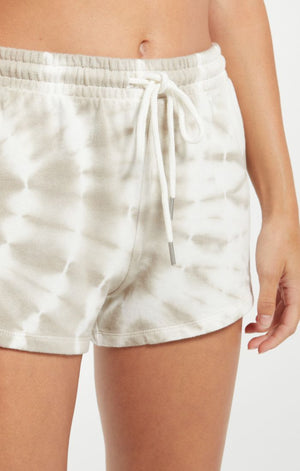 Z SUPPLY SADIE SPIRAL TIE-DYE SHORTS IN TAUPE