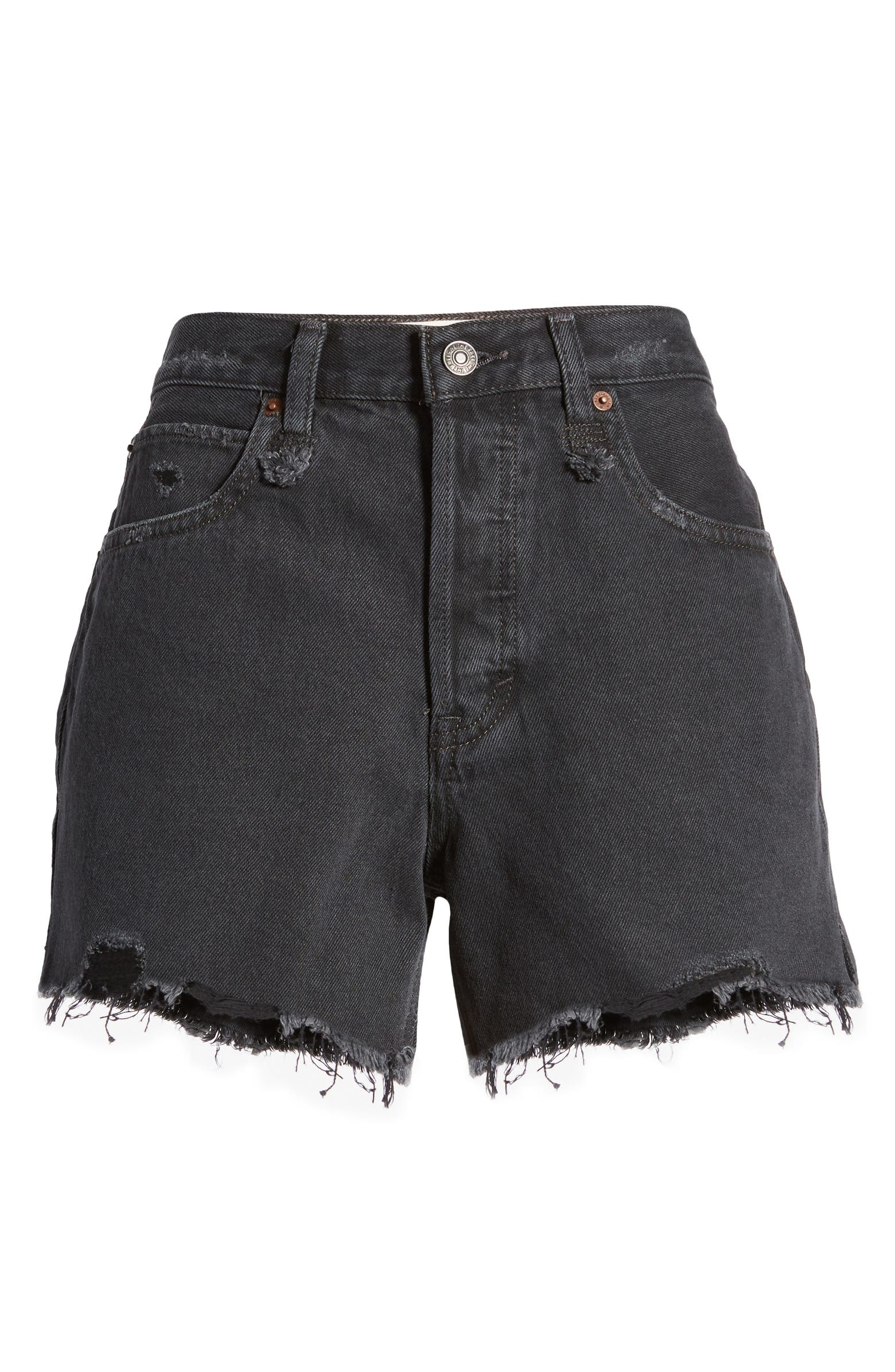 FREE PEOPLE MAKAI CUT OFF SHORTS IN WASHED BLACK