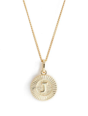 BRACHA INITIAL MEDALLION   Wear alone or as part of a layered look, this 14k gold-filled initial medallion necklace is lightweight, dainty, and would make a great gift! 18'' length  The pendant is 1/2 inch in width  14k gold filled pendant