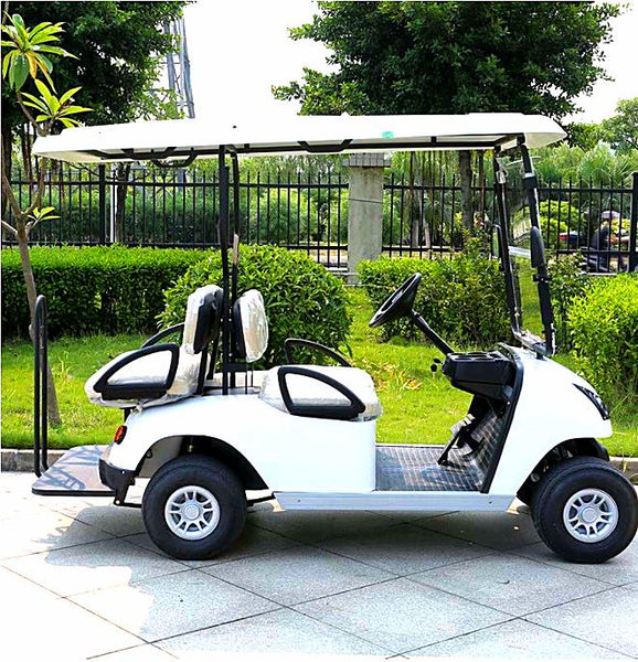 DG-C2_2-seater-electric-golf-cart--in-white-sideview-buy-online-at-thesolpatch-com