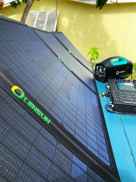 portable-lightweight-folding-solar-panels and solar generator-powerstations-let-you-make-music-anywhere-buy-at-thesolpatch-com