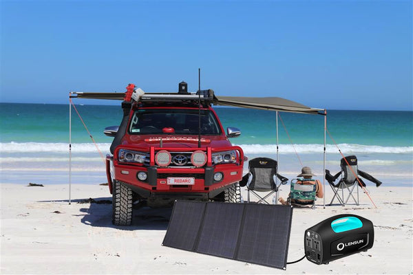 enjoying-beach-day-using-lensun-portable-solar-generator-and-folding-solar-panels-bundle-buy-at-thesolpatch-com