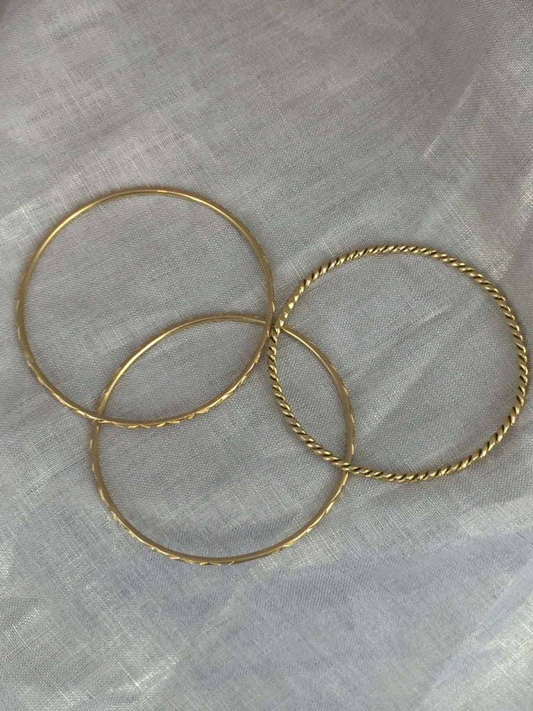Estate Collection 18K Yellow Gold Bangle Bracelets