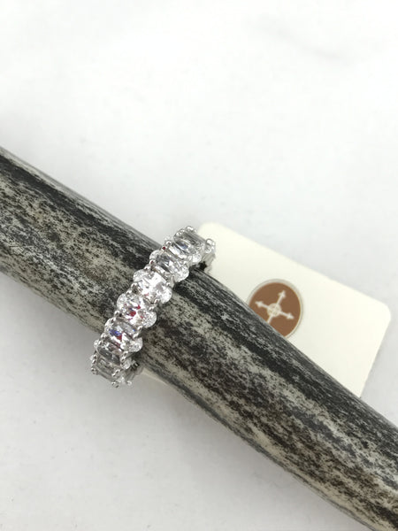Silver Clear CZ's Eternity Band