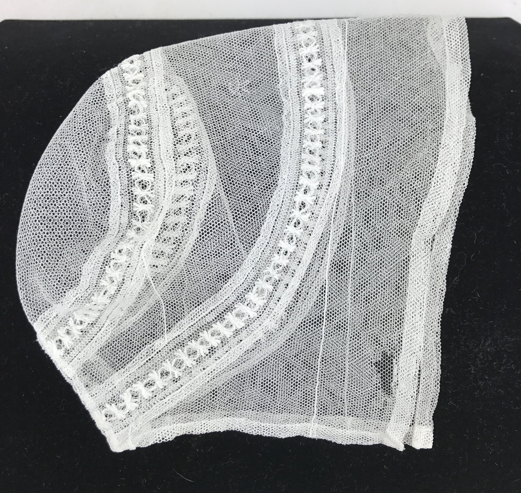 Estate Collection Baby Bonnet - Antique Net Lace Baby or Doll Bonnet