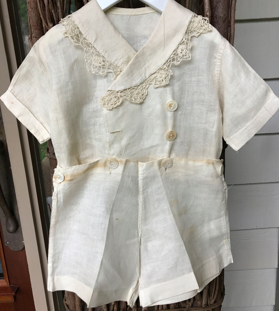 Estate Collection Vintage White Linen Double Breasted Shorts Outfit
