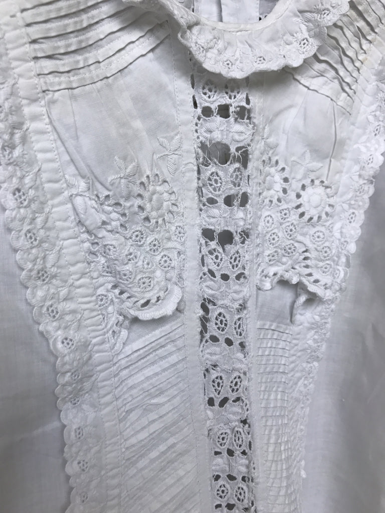 Estate Collection Christening Gown - Antique w/ Pin Tucks & Ayrshire Lace (1880s)