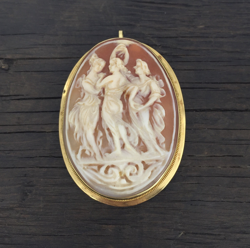 Estate Collection 14K Yellow Gold Cameo Brooch