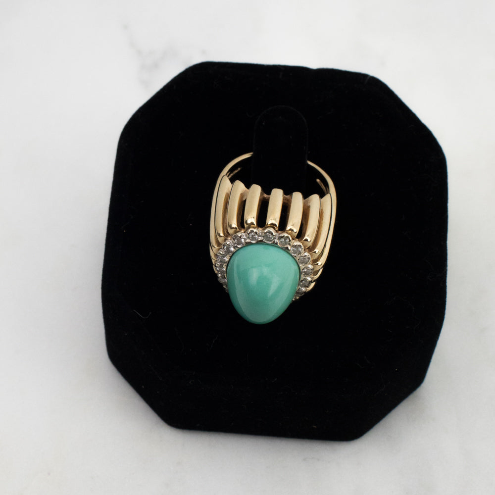 Estate Collection Ring 14K Turquoise & Diamond