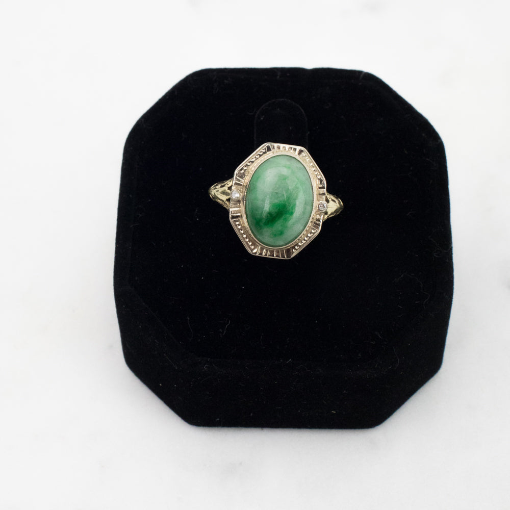 Estate Collection Ring Victorian Revival Gold Jadeite & Diamond