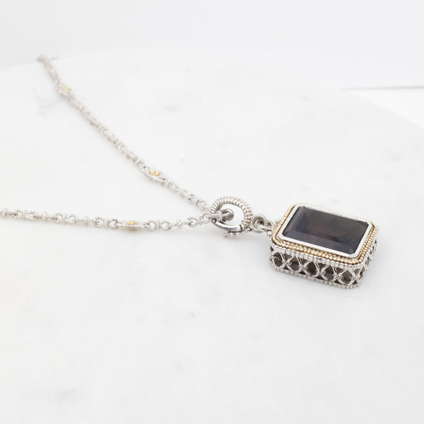 Estate Collection Necklace by Gabriel & Co. Sterling & Smoky Quartz