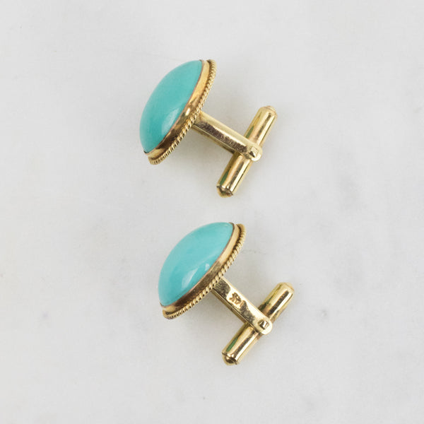 Estate Collection Cufflinks 10K Yellow Gold & Turquoise