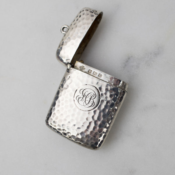 Estate Collection - Sterling Match Locket Top Loop Hammered Design