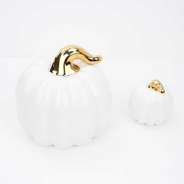 Handmade White Pumpkins w/Gold Stems