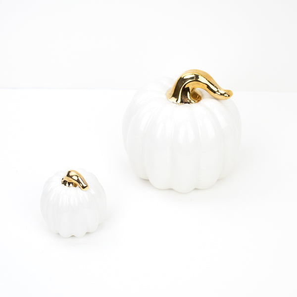 Handmade Tiny White Pumpkins w/Gold Stems
