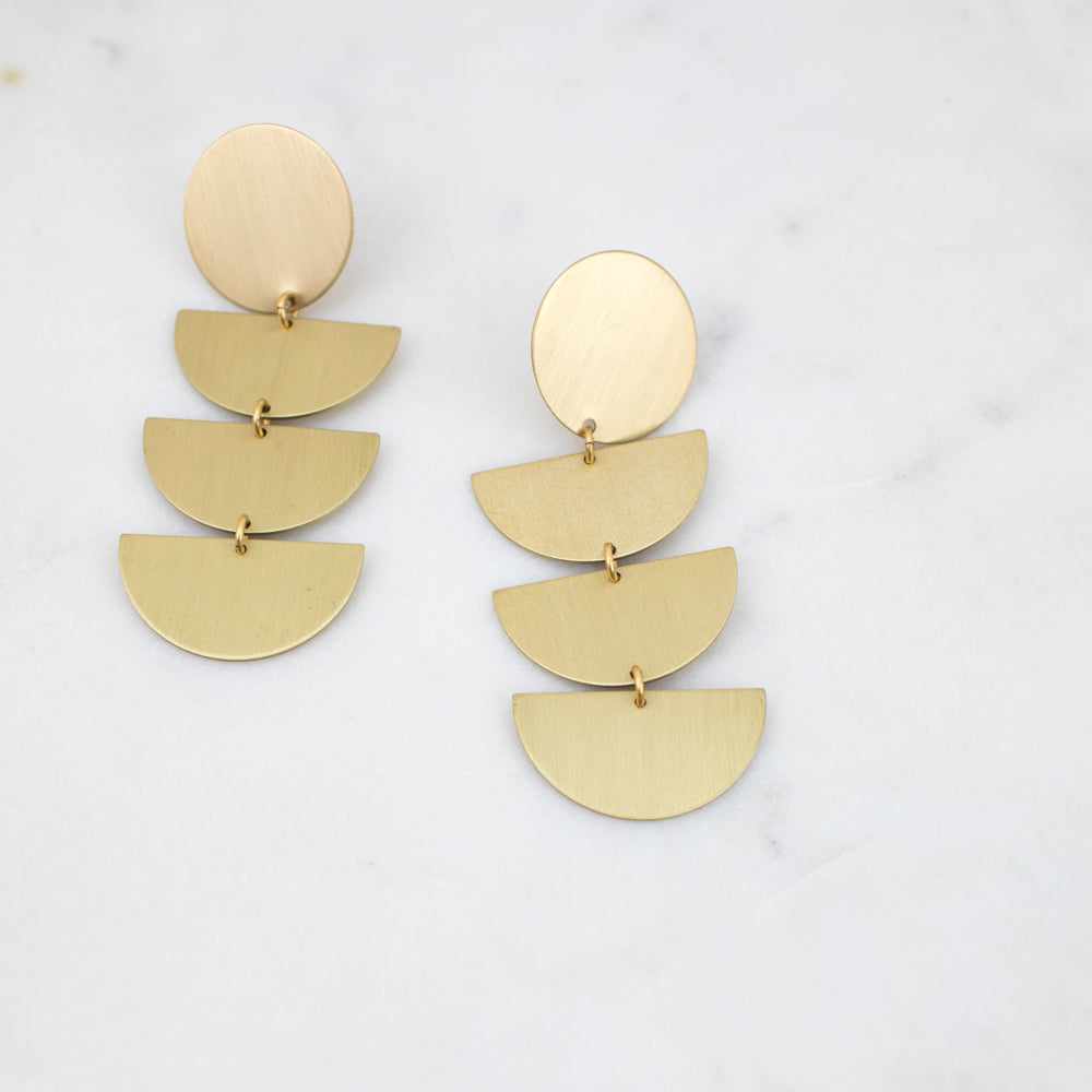 Earrings -  Satin Brass Quadruple Drop Post Earrings
