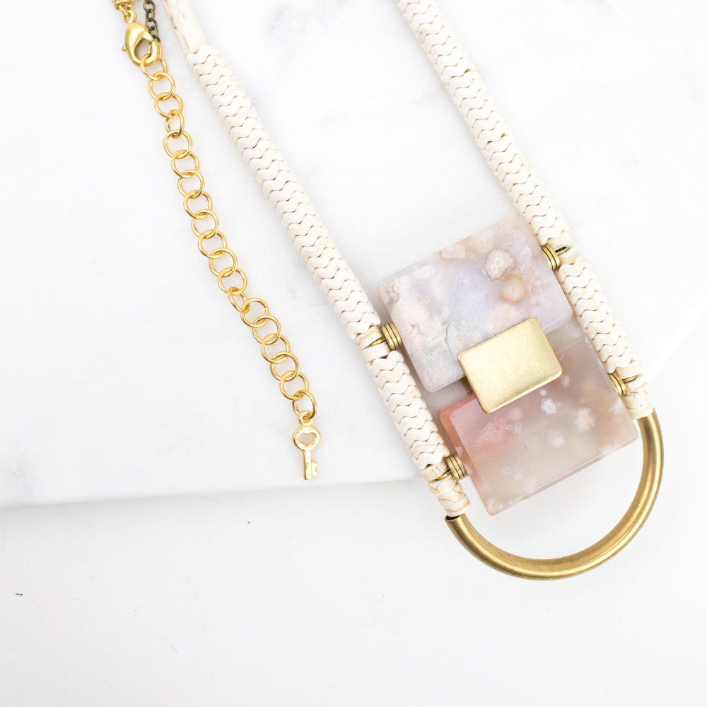 "Necklace - 29"" w/Magnesite, Brass and Pink Agate"