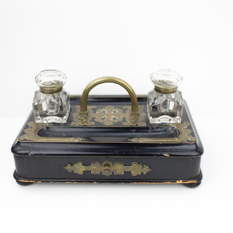 Estate Collection - Brass and Lacquered Wood Stationery Box and Inkstand