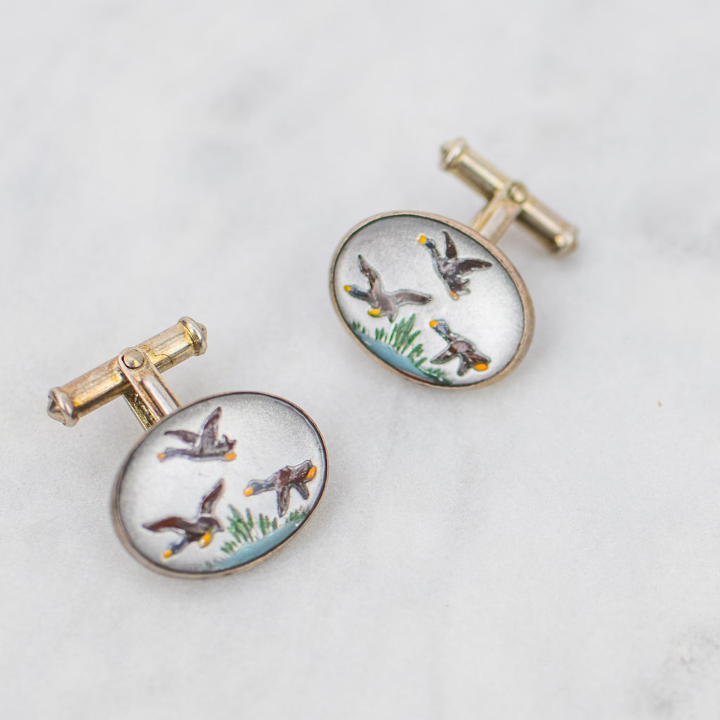 Estate Collection Cufflinks Sterling Silver w/Mallard Ducks