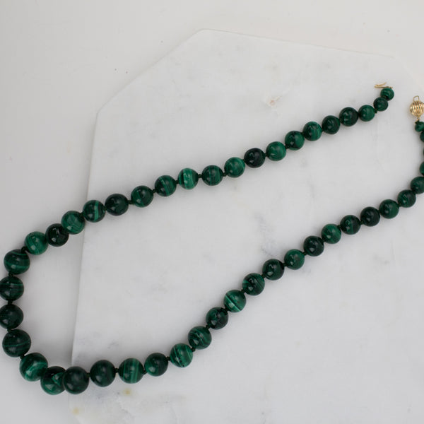 Estate Collection Necklace - 14K Yellow Gold Malachite Beaded Necklace