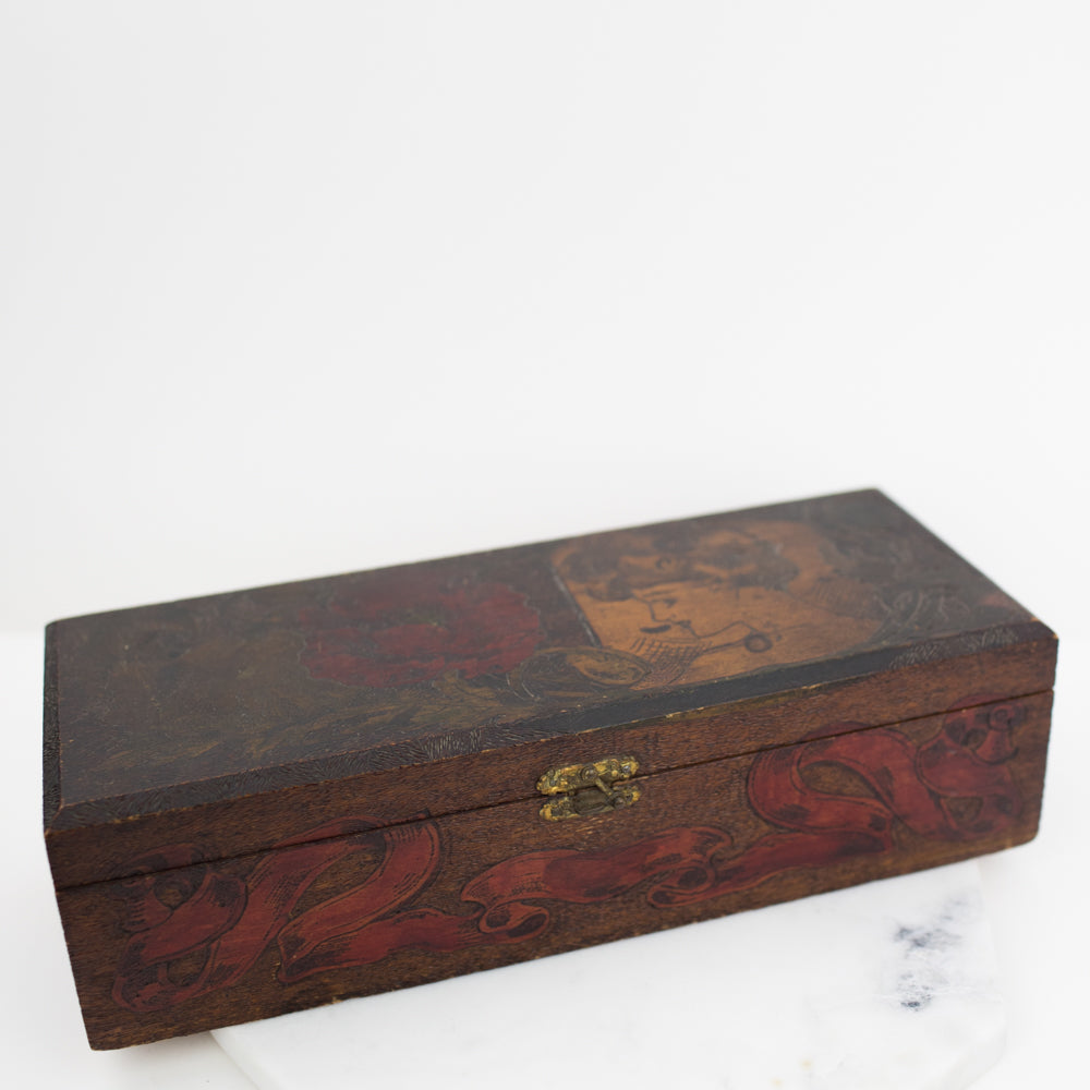 Estate Collection Box - Stamped Vintage Flemish Art Nouveau Glove Box